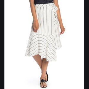JOIE NWT White Navy Stripe Asymmetrical Panels Wrap Midi Tie Waist Skirt 12